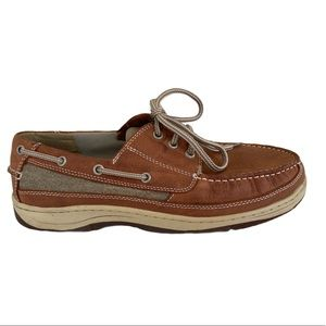 Chaps Brown Leather Boat Shoes Men's Size 11 Wide